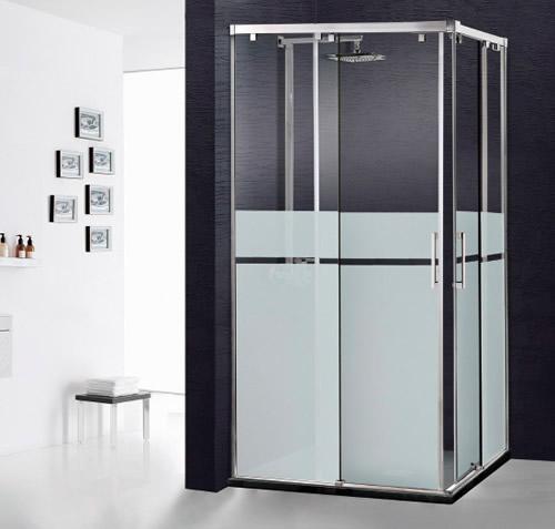 Mamparas de ducha corredera cristal corcega aluminios - Mamparas de cristal para ducha ...